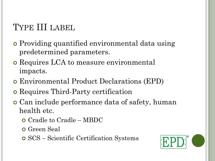 Type III label