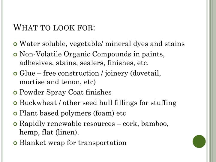 What to look for: