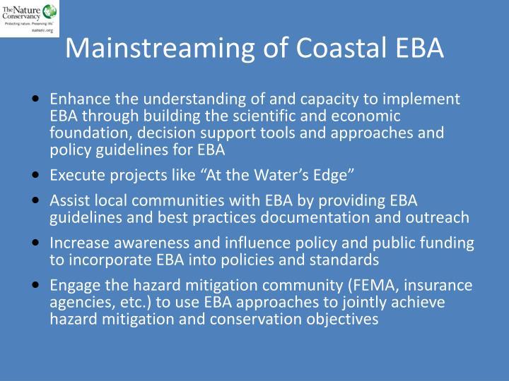 Mainstreaming of Coastal EBA