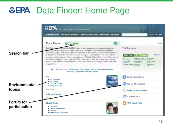 Data Finder: Home Page