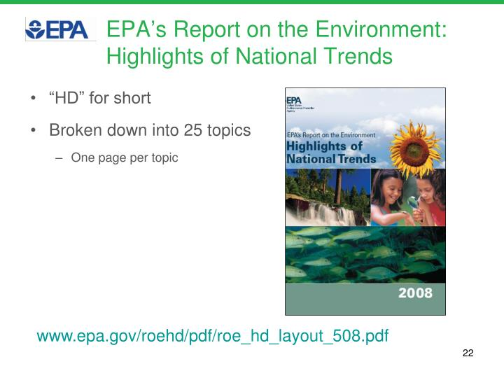 EPA's Report on the Environment:
