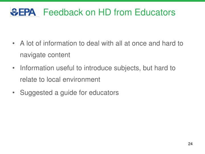 Feedback on HD from Educators