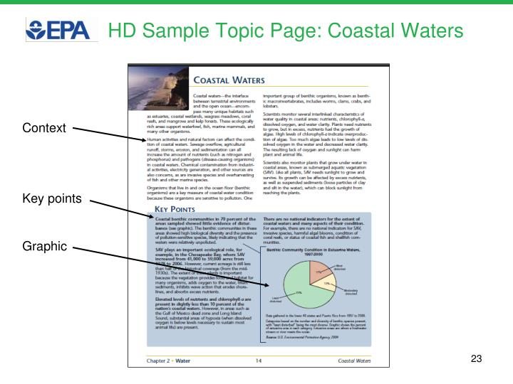 HD Sample Topic Page: Coastal Waters