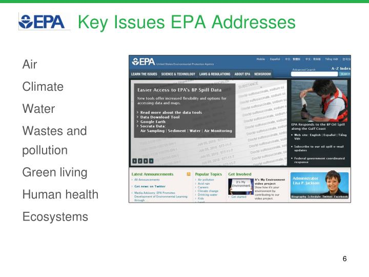 Key Issues EPA Addresses