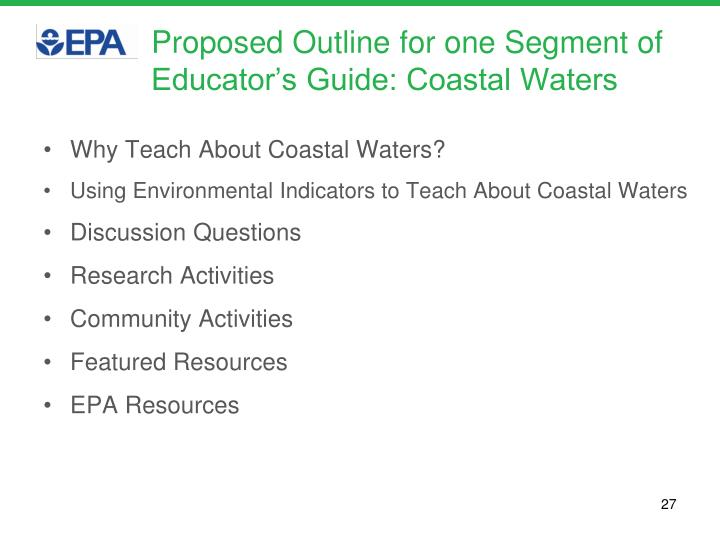 Proposed Outline for one Segment of Educator's Guide: Coastal Waters