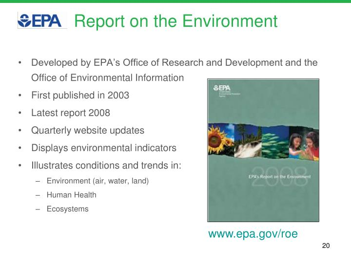 Report on the Environment