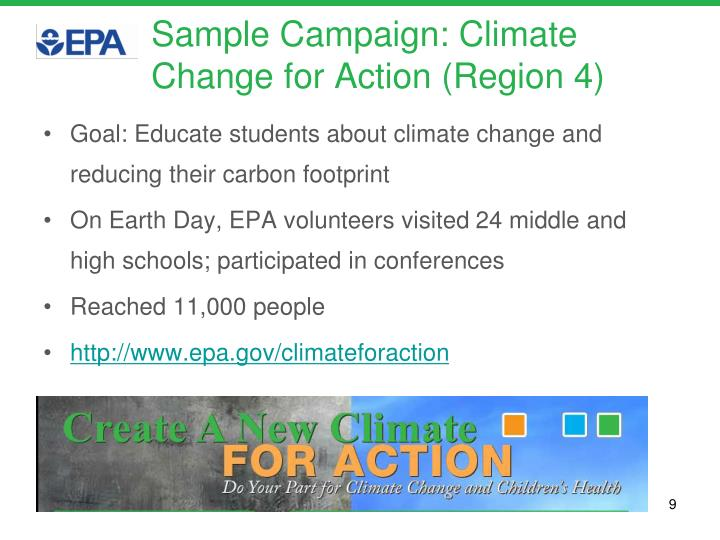 Sample Campaign: Climate Change for Action (Region 4)