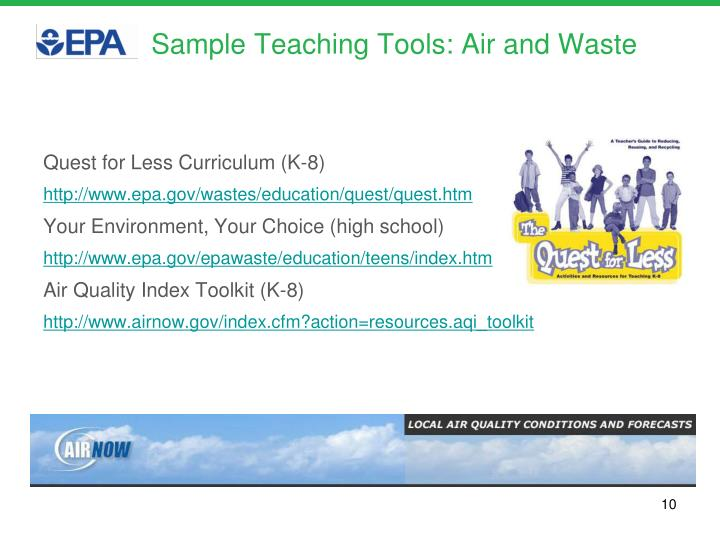 Sample Teaching Tools: Air and Waste