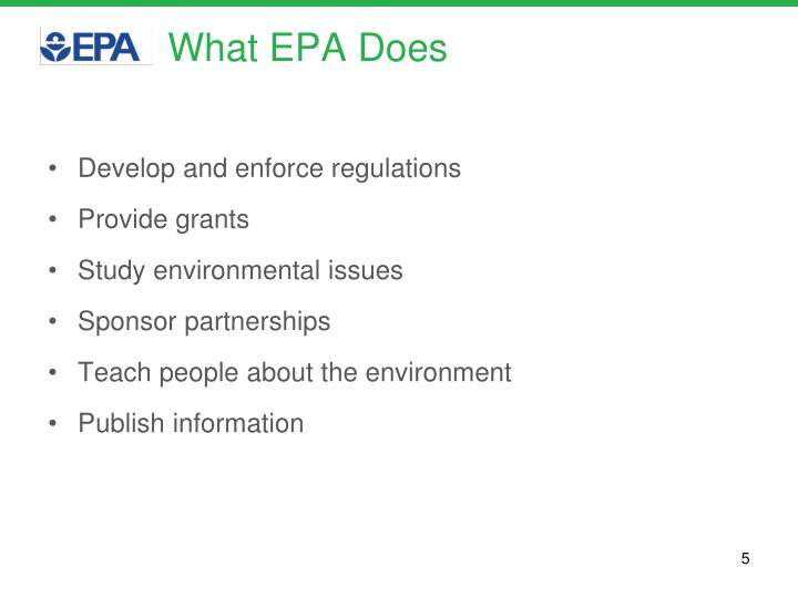 What EPA Does