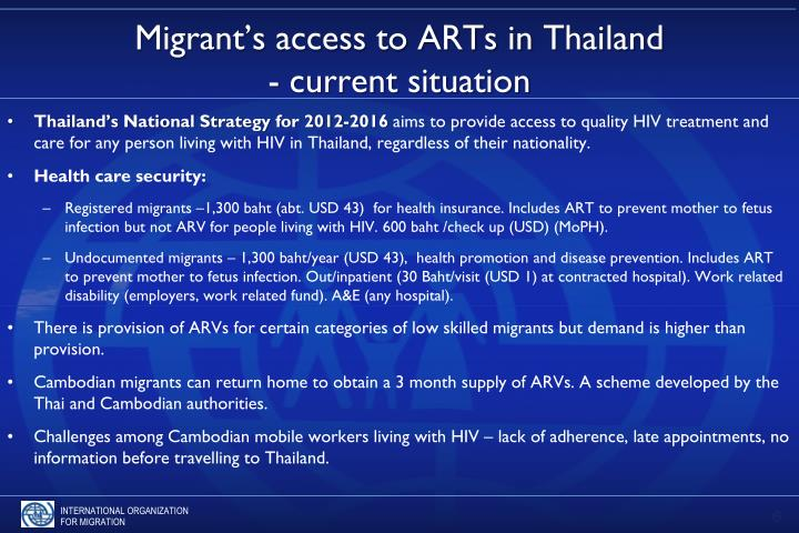 Migrant's access to ARTs in