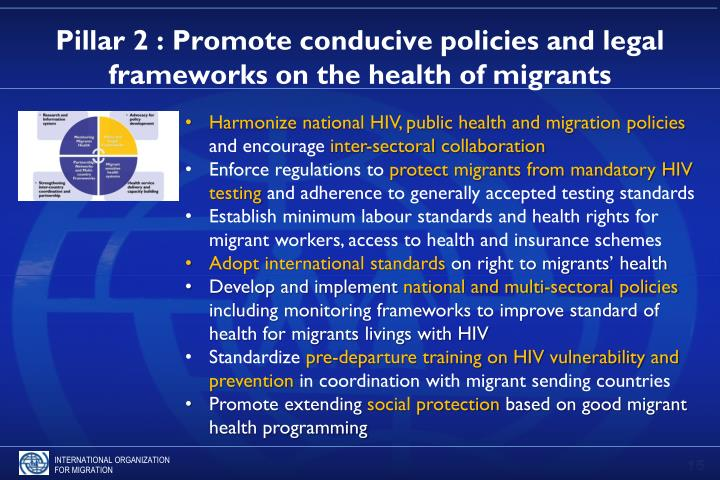 Pillar 2 : Promote conducive policies and legal frameworks on the health of migrants