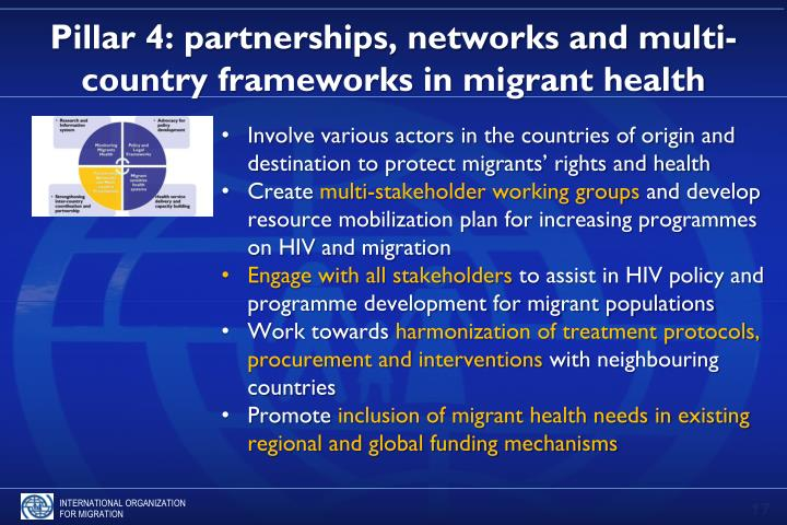 Pillar 4: partnerships, networks and multi-country frameworks in migrant health