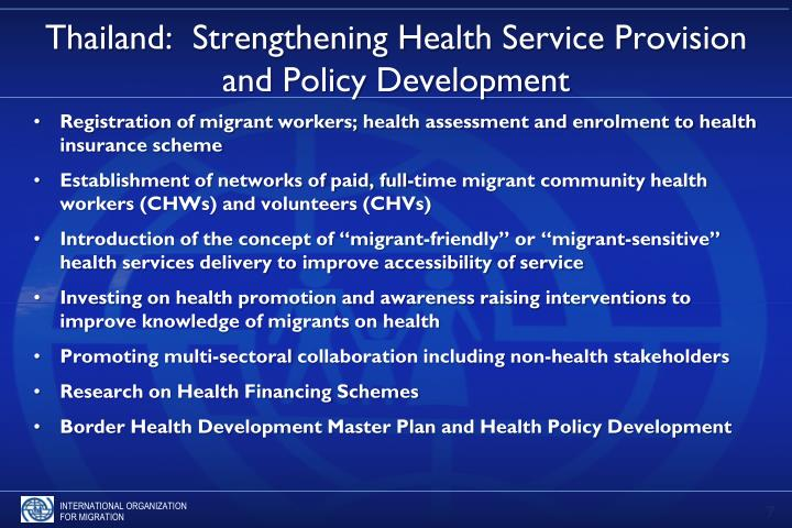 Thailand:  Strengthening Health Service Provision and Policy Development