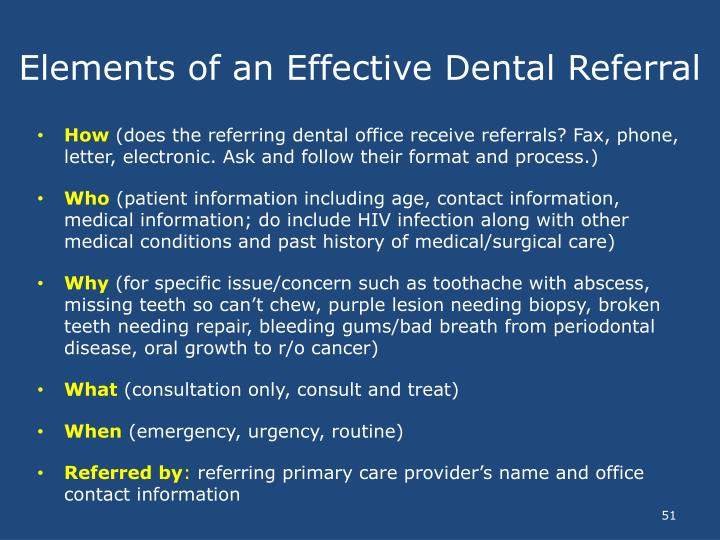 Elements of an Effective Dental Referral