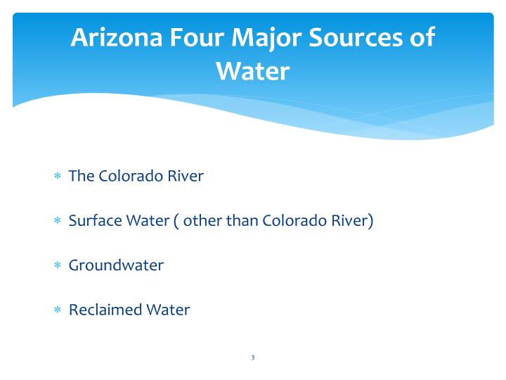 Arizona four major sources of water