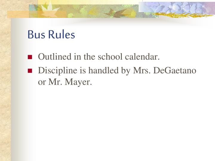 Bus Rules