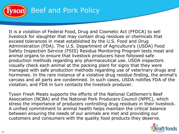 Beef and Pork Policy