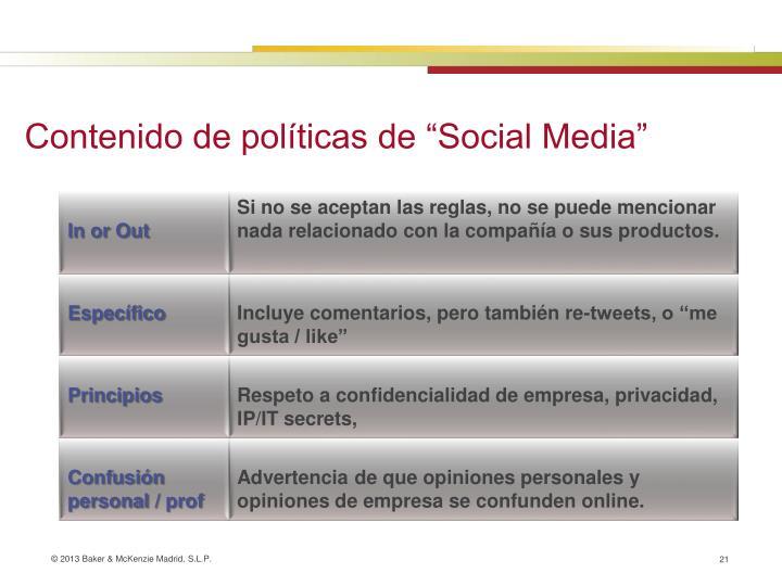 """Contenido de políticas de """"Social Media"""""""