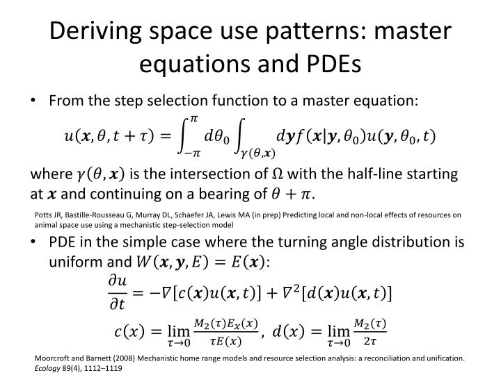 Deriving space use patterns: master equations and PDEs