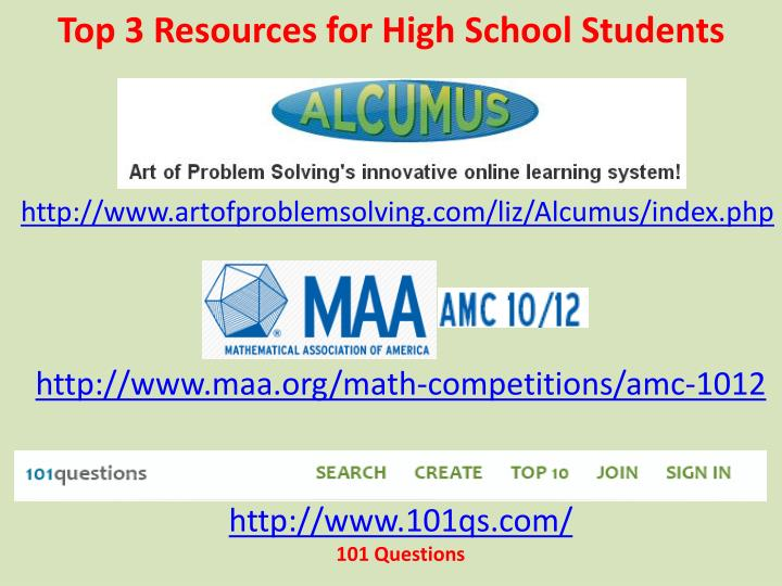 Top 3 Resources for High School Students