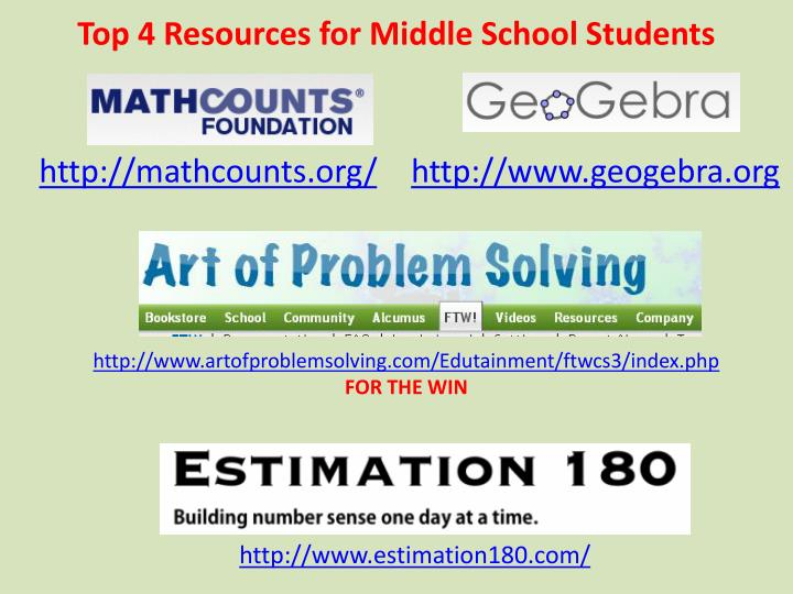 Top 4 Resources for Middle School Students