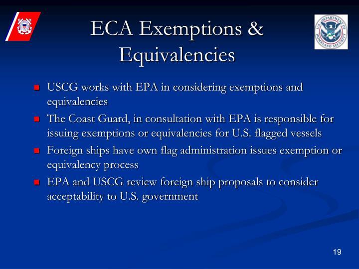 ECA Exemptions & Equivalencies