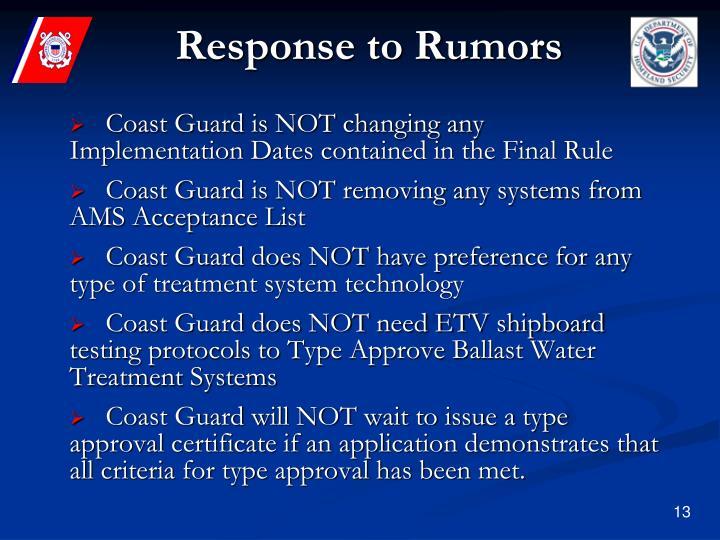 Response to Rumors
