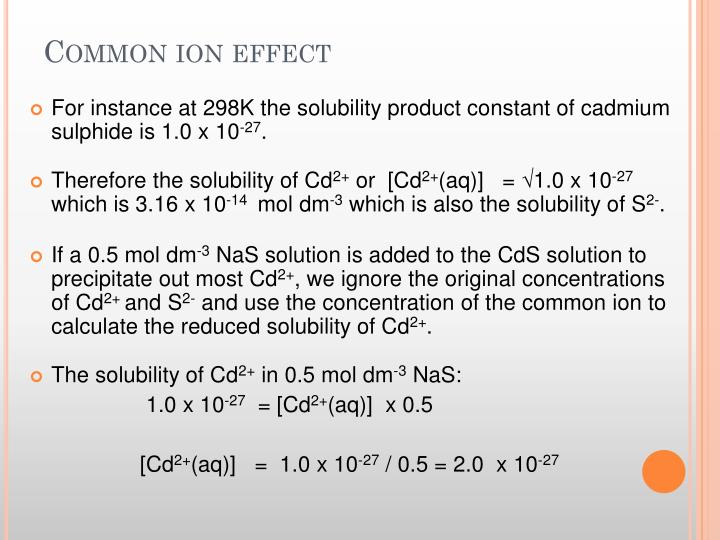 Common ion effect