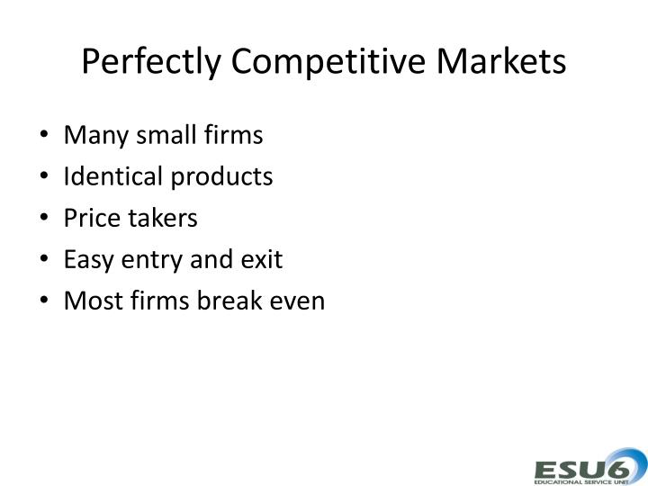 Perfectly Competitive Markets