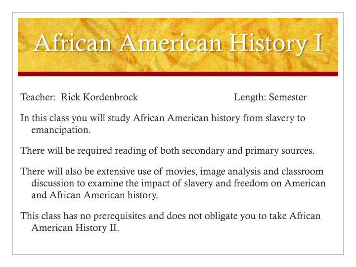 African American History I