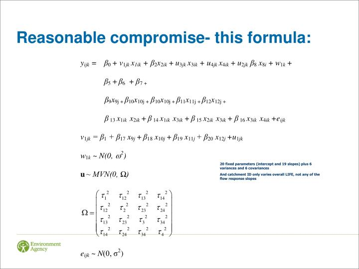 Reasonable compromise- this formula: