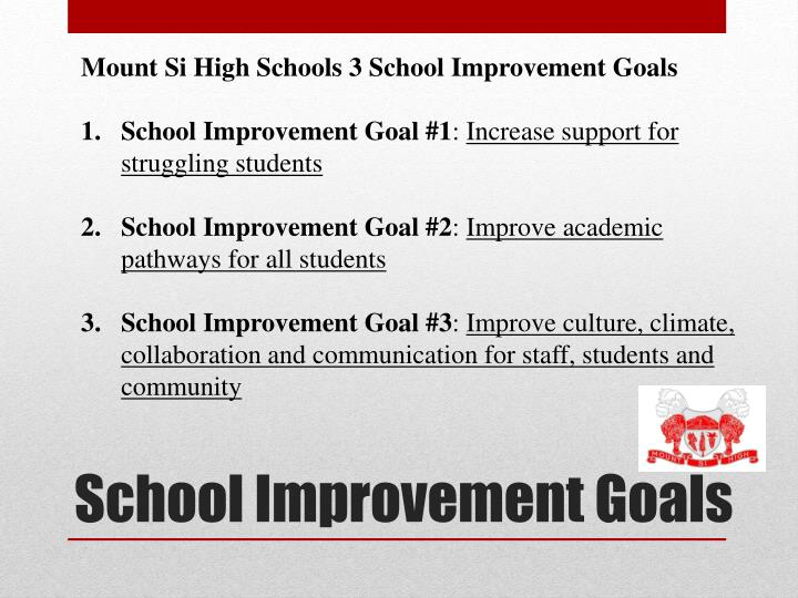 Mount Si High Schools 3 School Improvement Goals