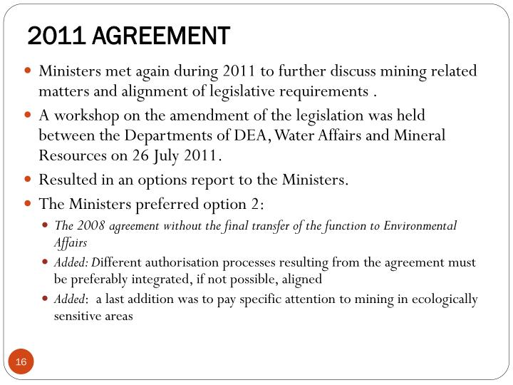 2011 AGREEMENT