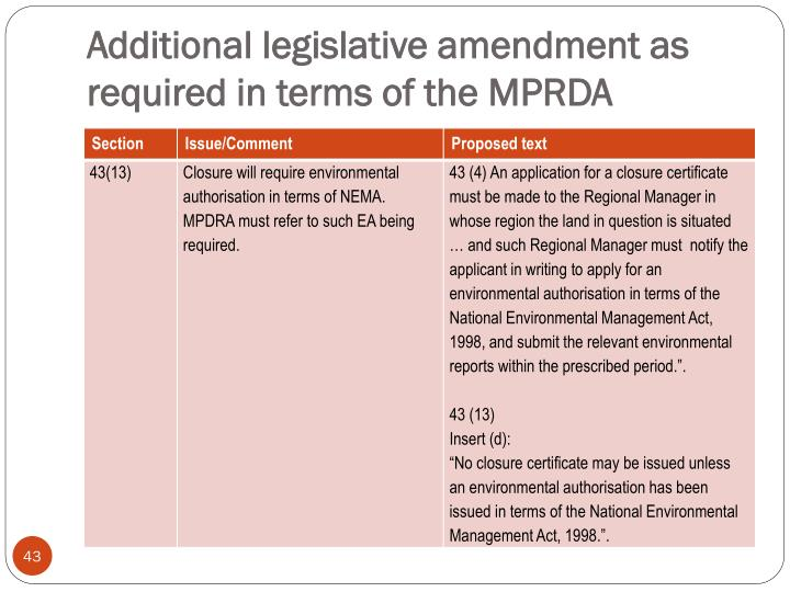 Additional legislative amendment as required in terms of the MPRDA