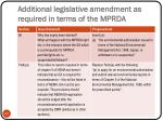 additional legislative amendment as required in terms of the mprda1