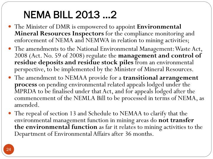 NEMA BILL 2013 ...2