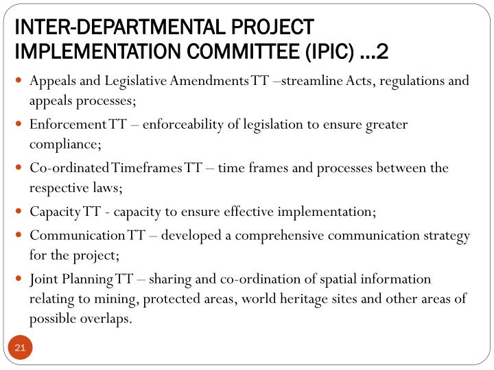 INTER-DEPARTMENTAL PROJECT IMPLEMENTATION COMMITTEE (IPIC) ...2