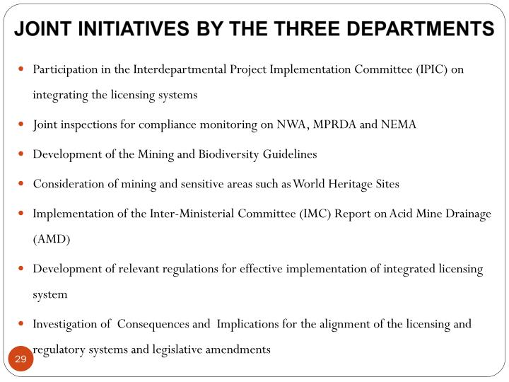 Participation in the Interdepartmental Project Implementation Committee (IPIC) on integrating the licensing systems