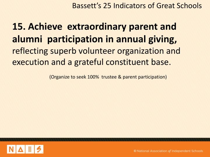 15. Achieve  extraordinary parent and  alumni  participation in