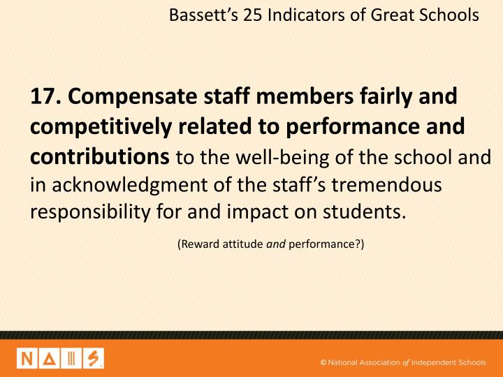 Bassett's 25 Indicators of Great Schools