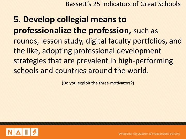 5. Develop collegial means to professionalize the profession,