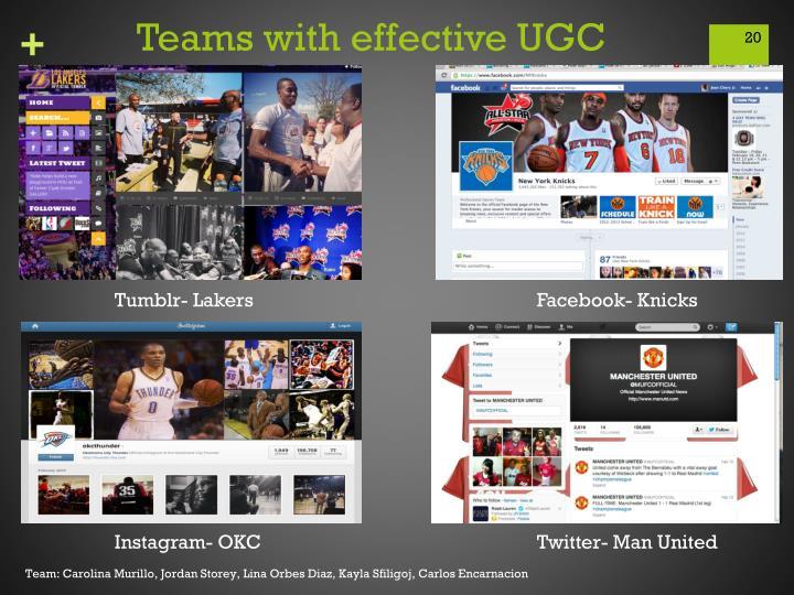 Teams with effective UGC