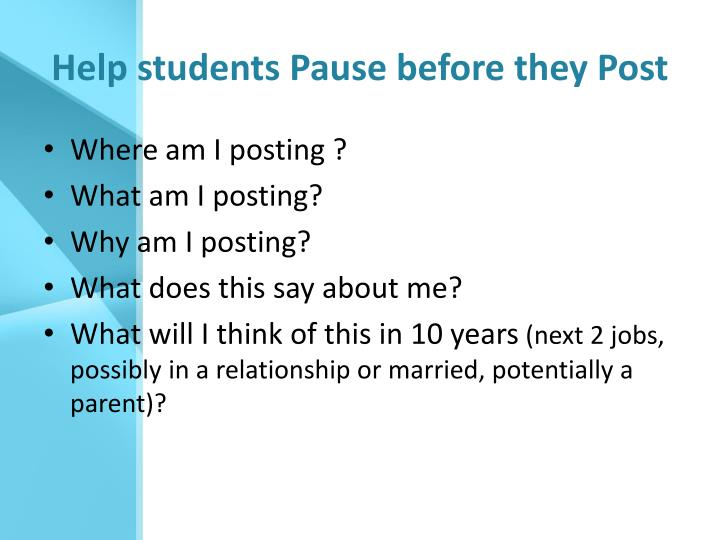 Help students Pause before they Post