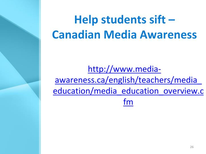 Help students sift –
