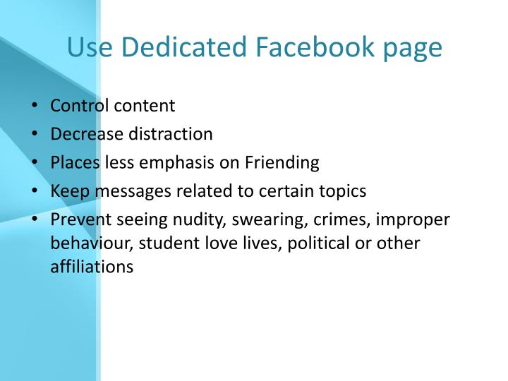 Use Dedicated Facebook page
