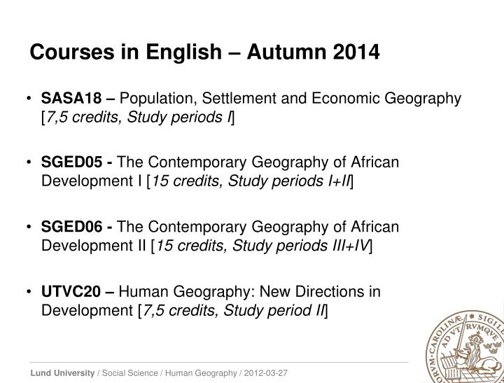 Courses in English – Autumn
