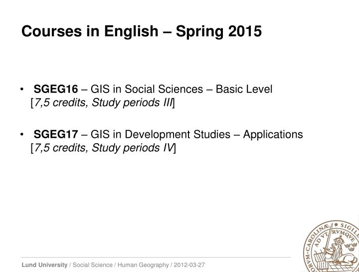 Courses in English – Spring
