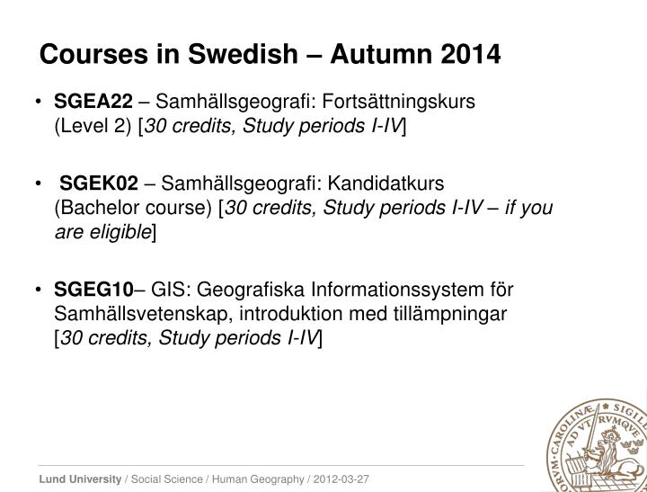 Courses in Swedish –