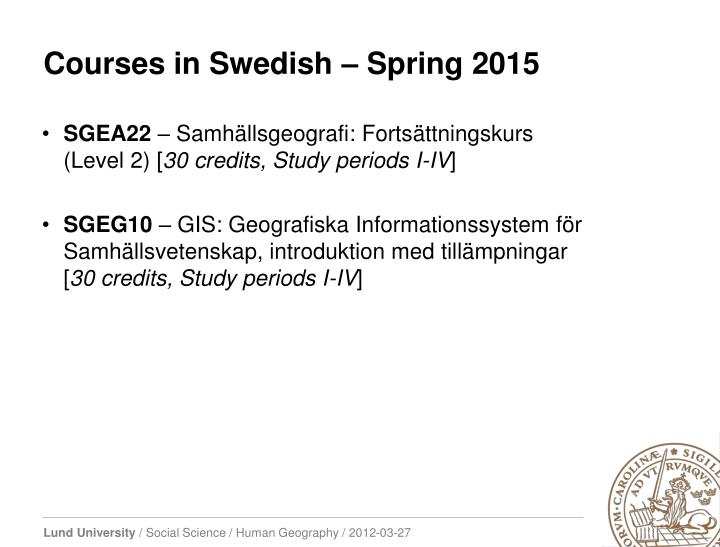 Courses in Swedish – Spring