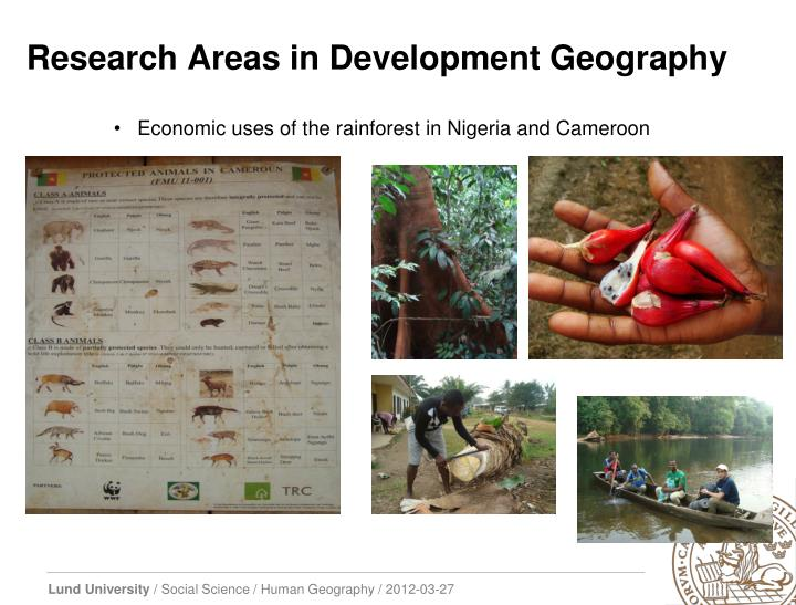 Research Areas in Development Geography